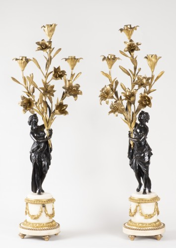 Antiquités - Pair Of Candelabra In Carrara Marble And Bronze circa 1800