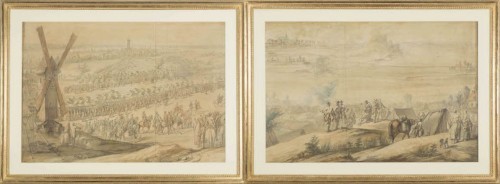 Charles Cozette_View on Furnes siege and View of the encampment of Courtrai