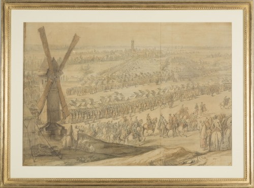 Charles Cozette_View on Furnes siege and View of the encampment of Courtrai - Paintings & Drawings Style Louis XV