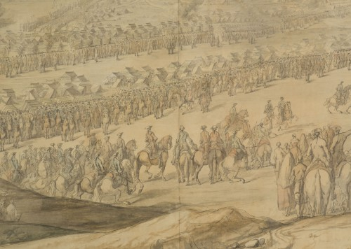 Paintings & Drawings  - Charles Cozette_View on Furnes siege and View of the encampment of Courtrai
