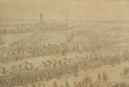 Charles Cozette_View on Furnes siege and View of the encampment of Courtrai -