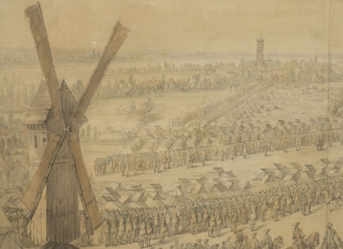 18th century - Charles Cozette_View on Furnes siege and View of the encampment of Courtrai