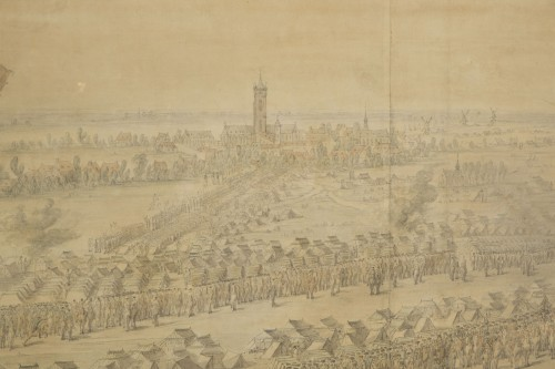 Antiquités - Charles Cozette_View on Furnes siege and View of the encampment of Courtrai