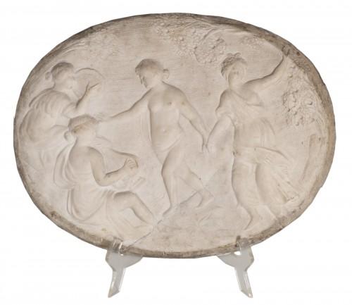 17th century marble relief a bacchanalian scene