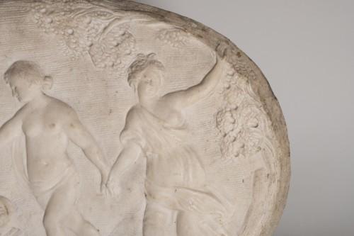 Sculpture  - 17th century marble relief a bacchanalian scene