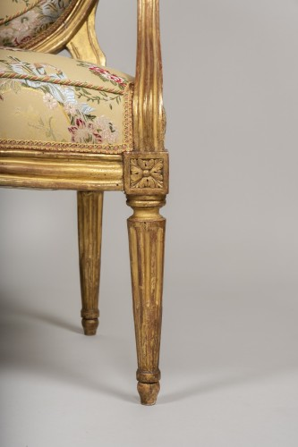 18th century - Set of 6 Louis XVI  armchairs by Georges Jacob