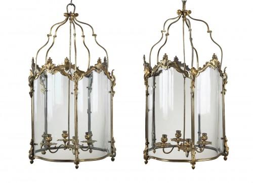 Pair Of Gilt Bronze Lanterns