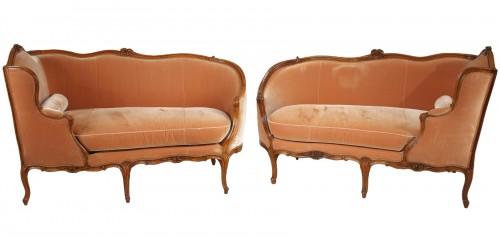 """Pair of Louis XV """"veilleuses"""" sofas"""
