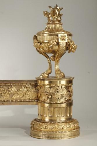 18th century - Pair of Louis XVI andirons
