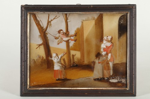 The Spanking And The Swing - 18th century school - Paintings & Drawings Style