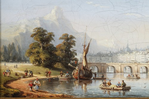 Paintings & Drawings  - C.E. KUWASSEG (1838- 1904) - Mountain Landscape With Rowing Boats And Walkers Near The Br