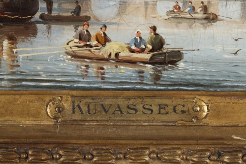 19th century - C.E. KUWASSEG (1838- 1904) - Mountain Landscape With Rowing Boats And Walkers Near The Br