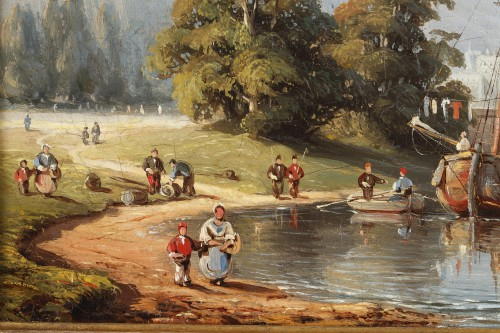 - C.E. KUWASSEG (1838- 1904) - Mountain Landscape With Rowing Boats And Walkers Near The Br