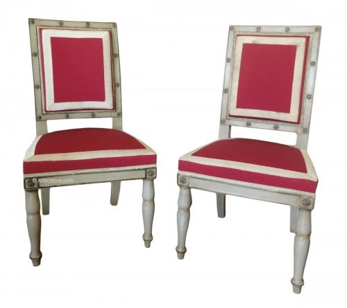 Pair of Empire chairs stamped Jacob Desmalter, Chateau de Fontainebleau