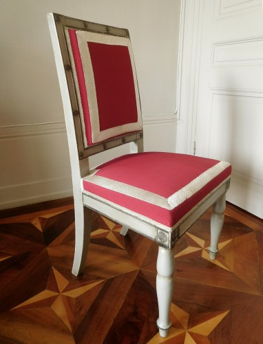 19th century - Pair of Empire chairs stamped Jacob Desmalter, Chateau de Fontainebleau