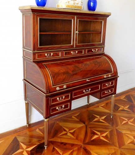 Louis XVI mahogany cylinder desk - France 18th century - Furniture Style Louis XVI