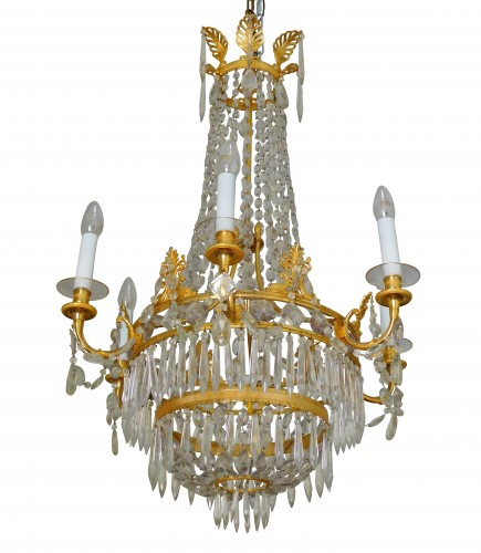 Crystal & ormolu chandelier, 6 lights, 19th century circa 1820