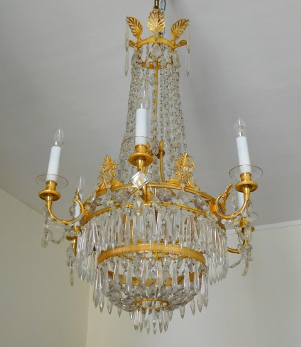 Crystal & ormolu chandelier, 6 lights, 19th century circa 1820 - Lighting Style Restauration - Charles X