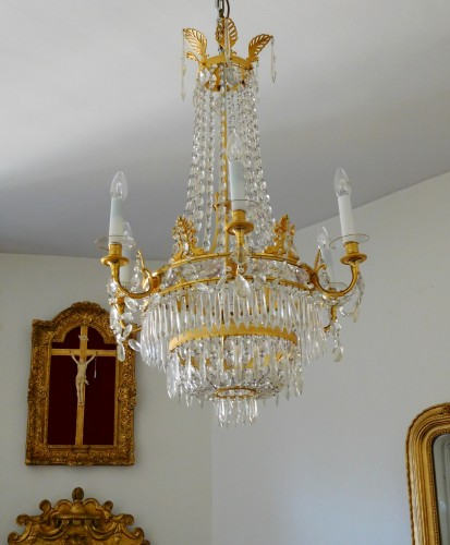 Lighting  - Crystal & ormolu chandelier, 6 lights, 19th century circa 1820