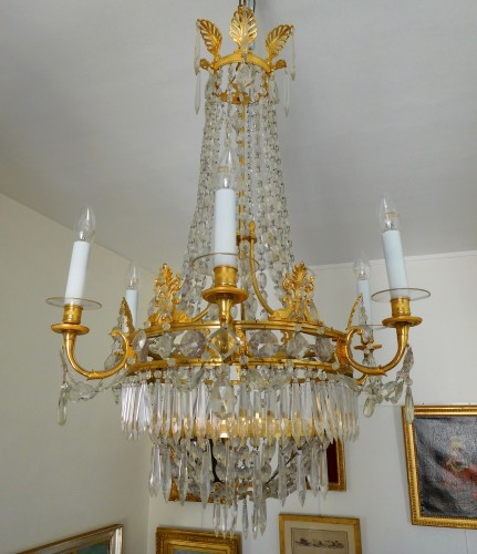 Crystal & ormolu chandelier, 6 lights, 19th century circa 1820 -