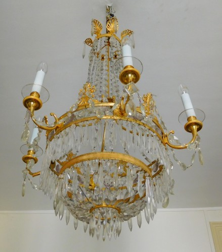 19th century - Crystal & ormolu chandelier, 6 lights, 19th century circa 1820