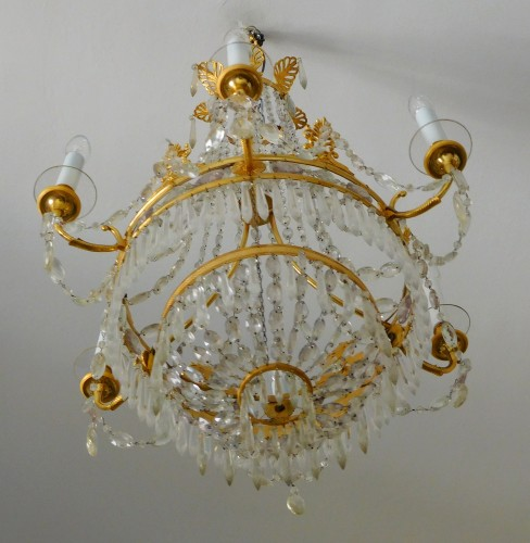 Crystal & ormolu chandelier, 6 lights, 19th century circa 1820 - Restauration - Charles X