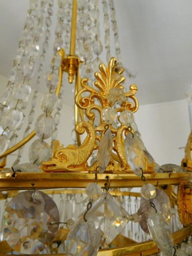 Antiquités - Crystal & ormolu chandelier, 6 lights, 19th century circa 1820