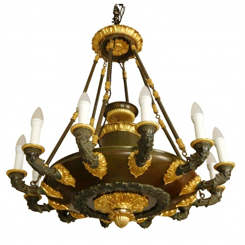 Chandelier, ormolu and patinated bronze - 12 lights - circa 1820