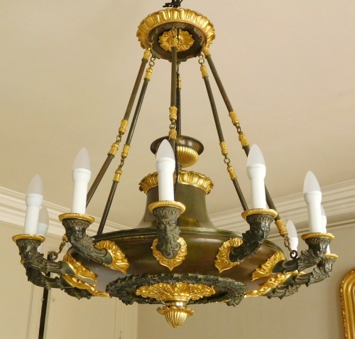 Chandelier, ormolu and patinated bronze - 12 lights - circa 1820 - Lighting Style Restauration - Charles X