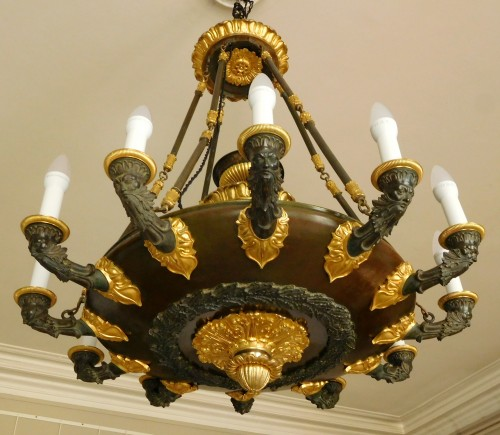 Lighting  - Chandelier, ormolu and patinated bronze - 12 lights - circa 1820