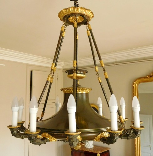 19th century - Chandelier, ormolu and patinated bronze - 12 lights - circa 1820