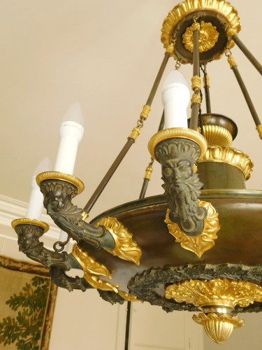 Restauration - Charles X - Chandelier, ormolu and patinated bronze - 12 lights - circa 1820