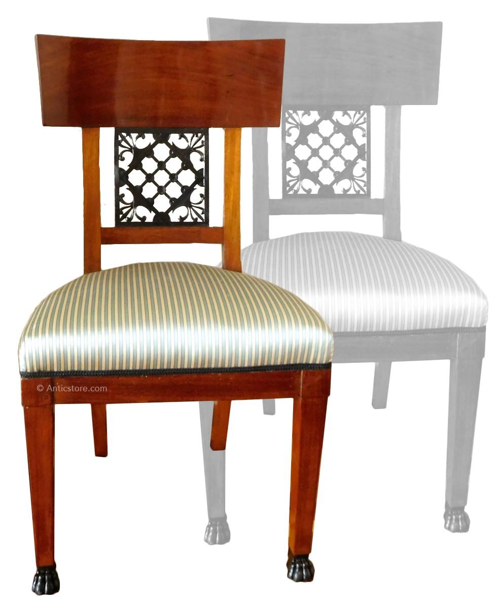 Charming Pair Of Mahogany Chairs, Consulate Period, Circa 1800