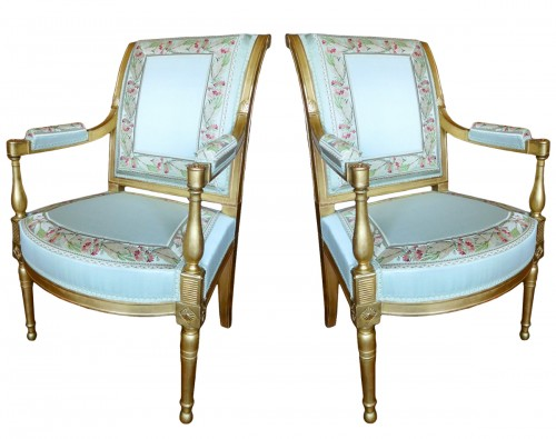Pair of gilt wood armchairs - France circa 1796-1799