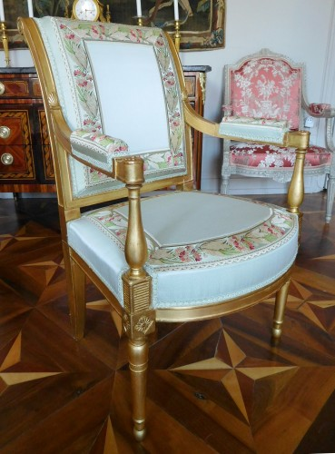 Pair of gilt wood armchairs - France circa 1796-1799 - Seating Style Directoire