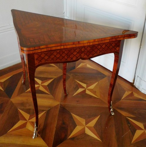 Louis XV marquetry game table / card table  - Furniture Style Louis XV