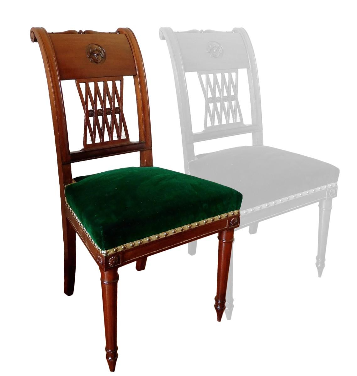 de à XVIIIe Directoire acajou chaises Paire l'Etrusque en lTF1KJc