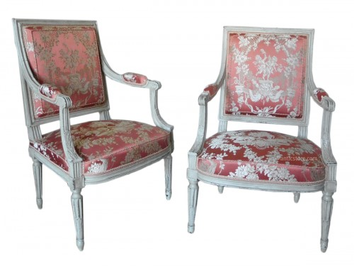 Pair of Louis XVI armchairs stamped JB Boulard
