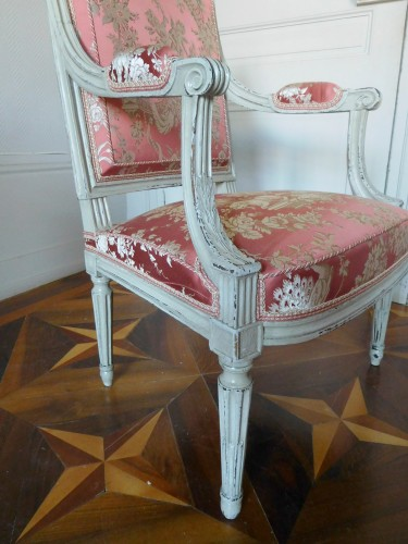 Pair of Louis XVI armchairs stamped JB Boulard -