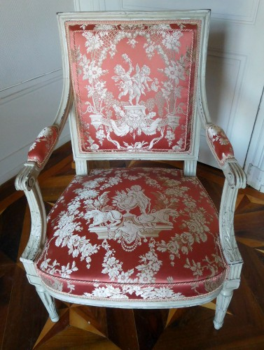 18th century - Pair of Louis XVI armchairs stamped JB Boulard