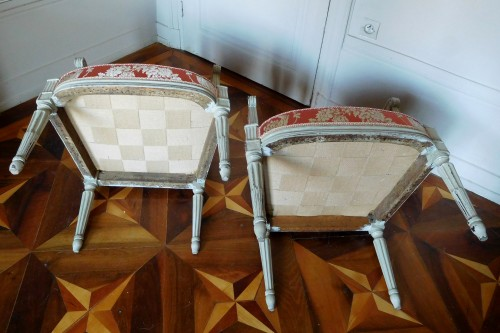 Antiquités - Pair of Louis XVI armchairs stamped JB Boulard
