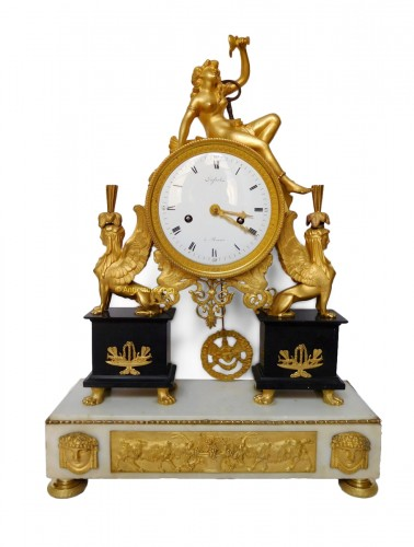 French late 18th century ormolu and marble clock