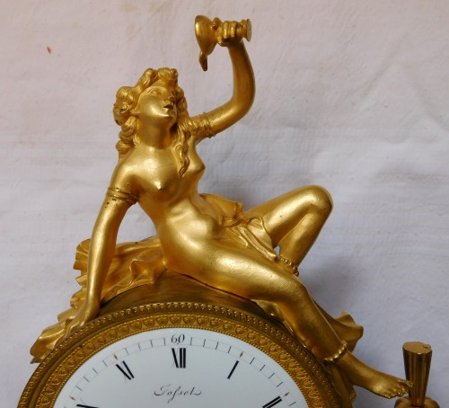 French late 18th century ormolu and marble clock -