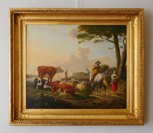 Restauration - Charles X - Early 19th century Dutch school / Flemish school signed AB Worrel