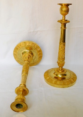 Lighting  - Claude Galle - Pair of Empire period ormolu candlesticks
