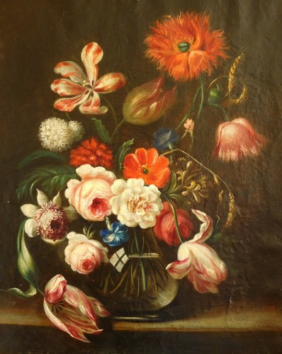 flowers bouquet - 18th century Dutch school - Paintings & Drawings Style Louis XVI
