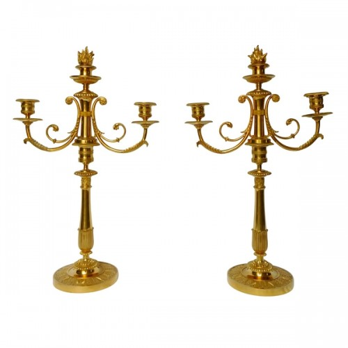 Pair of ormolu candelabras, - early 19th century