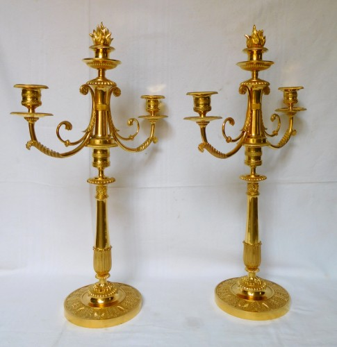 Pair of ormolu candelabras, early 19th century - Lighting Style Restauration - Charles X