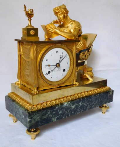 "Clocks  - Empire Ormolu Clock ""the Liseuse"" Dial signed Grand Girard"
