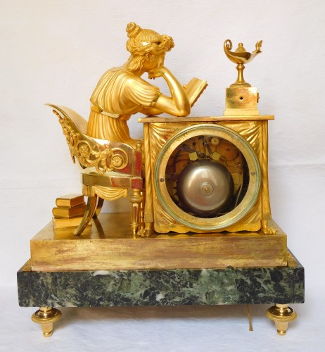 "Empire Ormolu Clock ""the Liseuse"" Dial signed Grand Girard -"